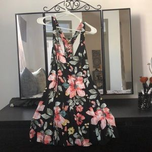 Forever 21 Floral Black Strappy Dress